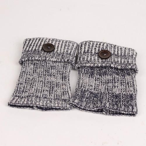 Ribbed Knit Boot Cuffs with a Wood Button - Classy & Trending!