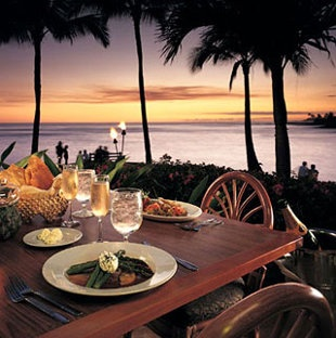The Beach House on Kauai, Hawaii.  so wonderful to sit by any ocean & watch the sunset while you eat with family & friends