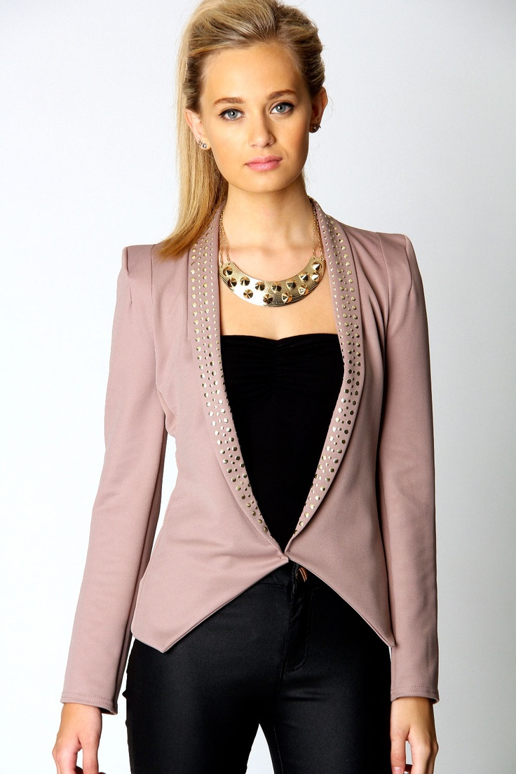 Belle Edge To Edge Blazer With Studded Lapel