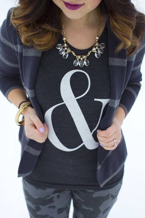 J.Crew gold crystal necklace, Cake for Breakfast Ampersand tee, & camo jeans via Kastles