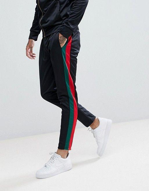 6eb188f5565f Criminal Damage Skinny Sweatpants In Black With Side Stripes en 2019 | Pants  | Skinny joggers, Mens sweatpants y Sweatpants
