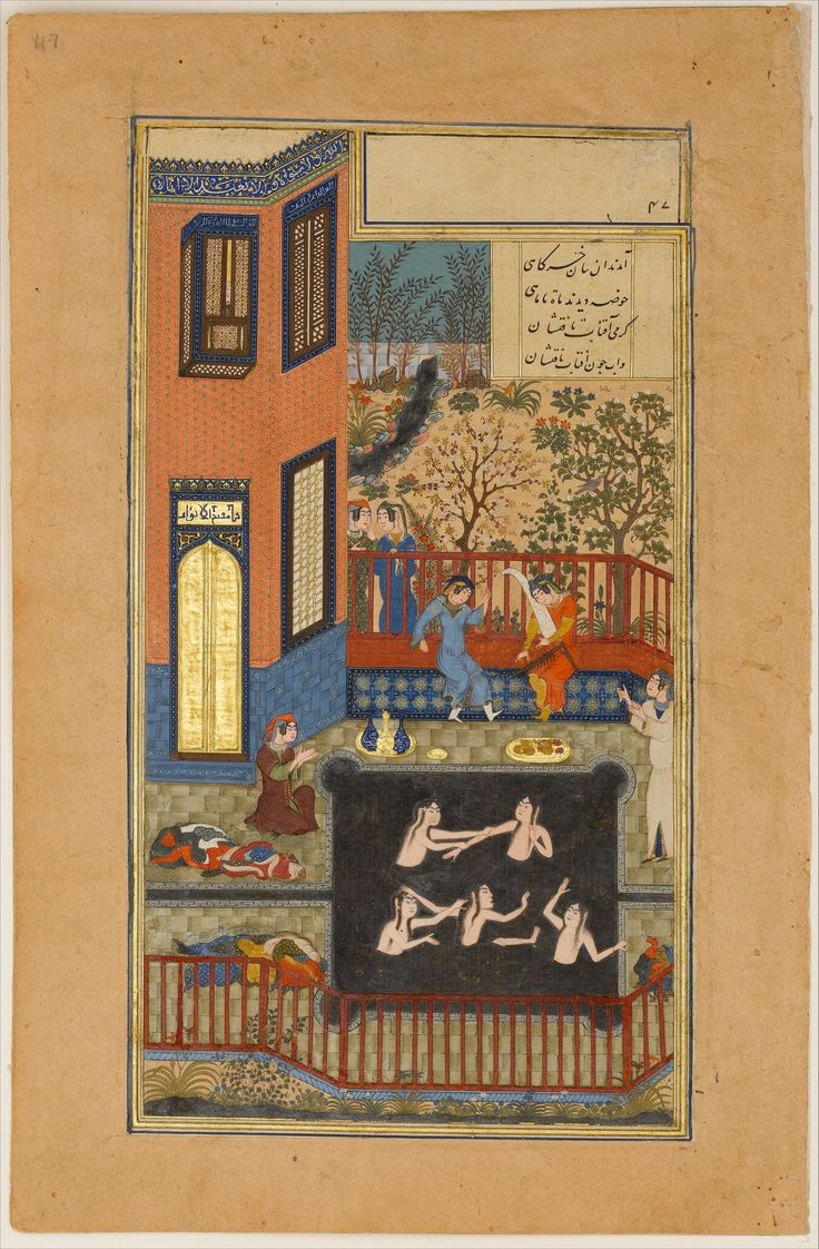 """The Eavesdropper"", Folio 47r from a Haft Paikar (Seven Portraits) of the Khamsa (Quintet) of Nizami Calligrapher: Maulana Azhar (d. 1475/76) Poet: Nizami (Ilyas Abu Muhammad Nizam al-Din of Ganja) (probably 1141–1217) Artist: Painting by Unknown Object Name: Folio from an illustrated manuscript Date: ca. 1430 Geography: present-day Afghanistan, Herat"