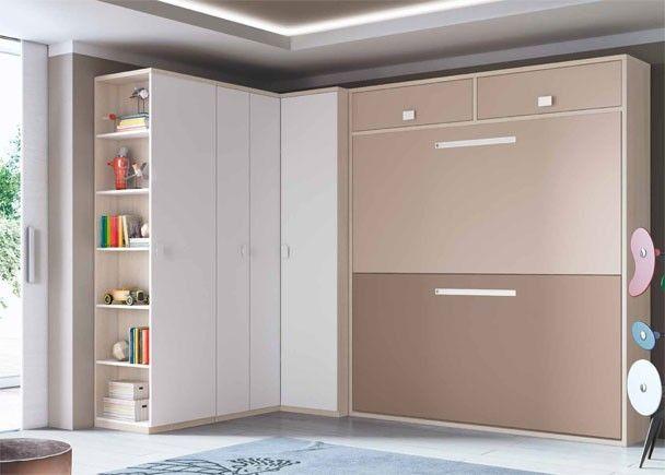 Dormitorio Infantil con litera abatible y armario