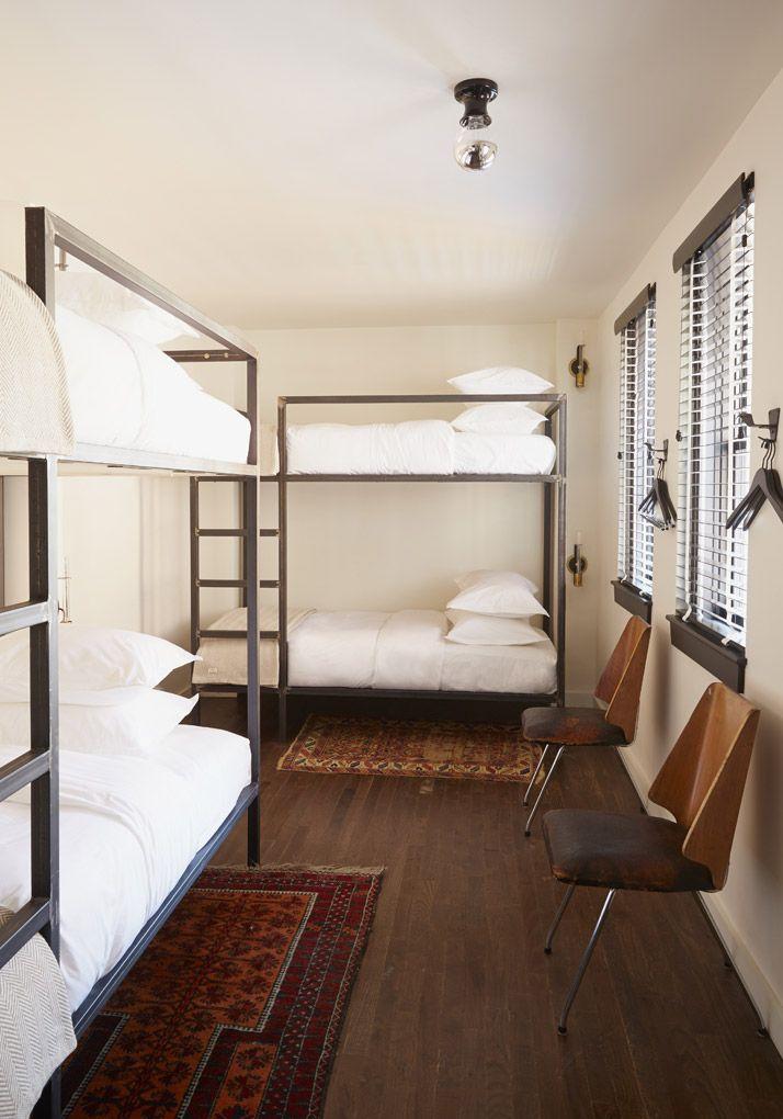 hotel inspiration for the kids room.    #bunkbeds #kids #bedroom