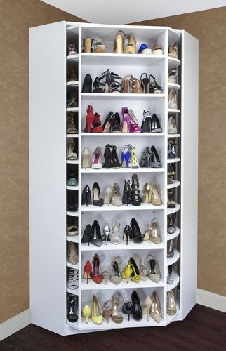 Shoe storage idea > lazy susan. A revolving system where you can see all of your favorite shoes at once.  Perfect for all shoe lovers!