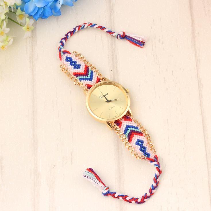 Colorful cloth strap vintage unisex watch