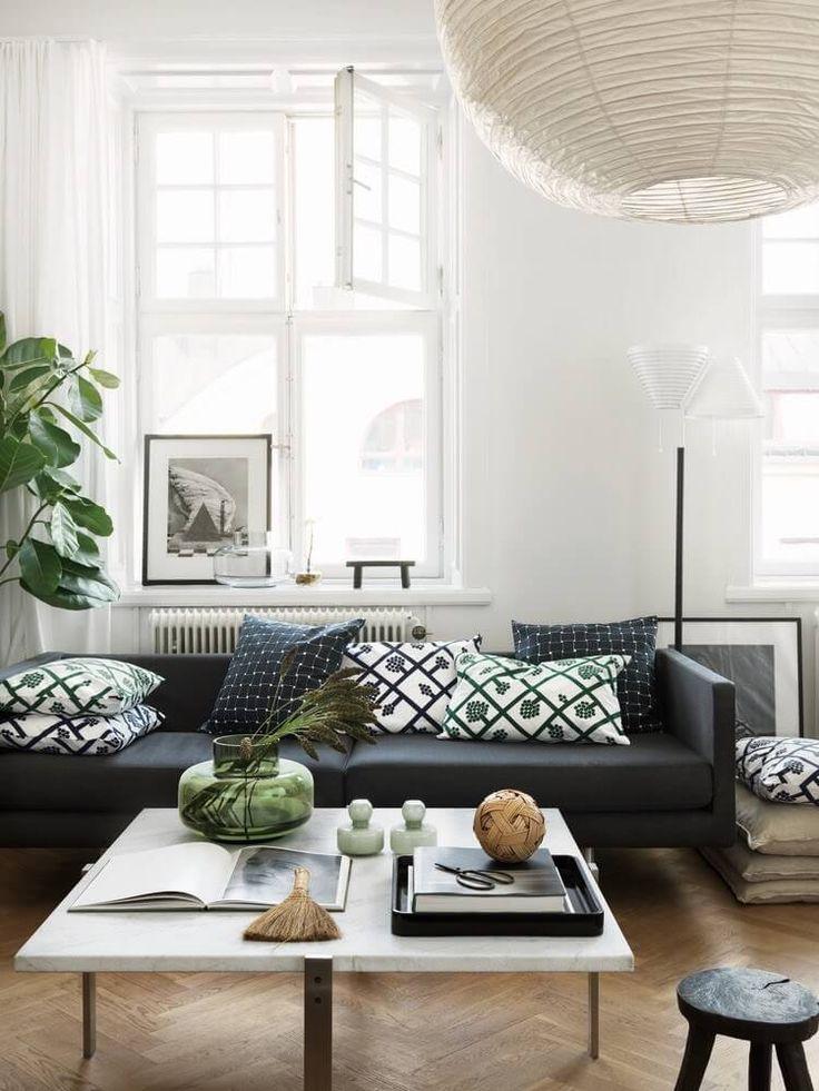 Stunning living room with big windows | Marimekko vase |My 7 favourite Scandi interior and decor online shops | by SHnordic