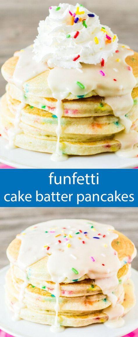 funfetti pancakes/ birthday pancakes recipe / easy birthday breakfast / cake batter pancakes / pancakes from cake mix / sprinkles / dessert via /tastesoflizzyt/