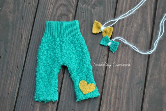 Newborn Photography Pants  Upcycled by  Turquoise Pants with Mustard Yellow Heart & 2 Tie Backs ToodleBugCreations on Etsy, $23.00