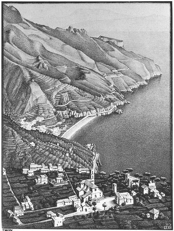 """""""Ravello and the Coast of Amalfi"""" by M.C. Escher, Completion Date: 1931, Style: Realism"""