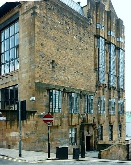 Glasgow School of Art, side elevation, designed by Charles Rennie Mackintosh.