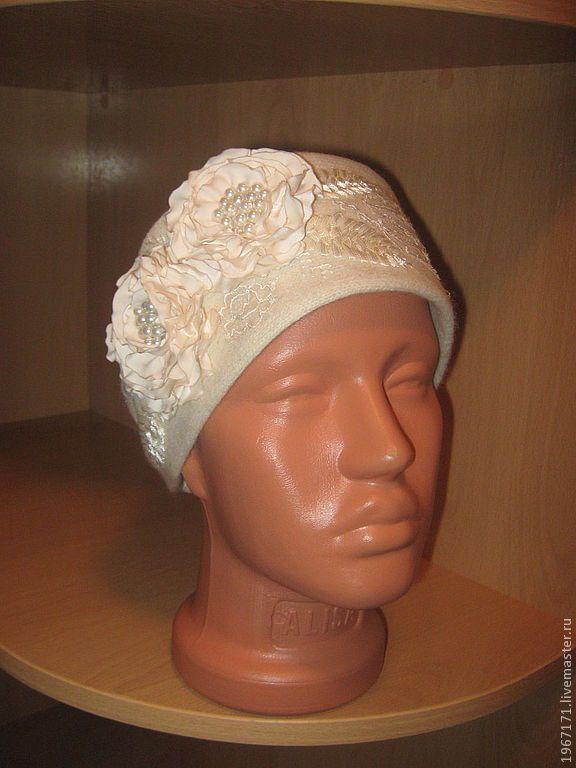 Купить повязка Сливочная - белый, повязка на голову, атласные цветы, ручная вышивка, трикотажная повязка