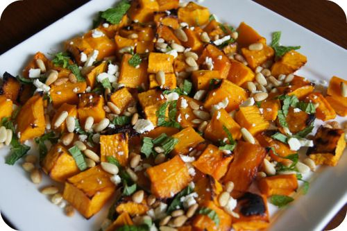 Roast Pumpkin Salad Recipe- pumpkin, olive oil, sea salt flakes, pine nuts, mint, fetta.  Dressing:  Honey, balsamic vinegar, olive oil