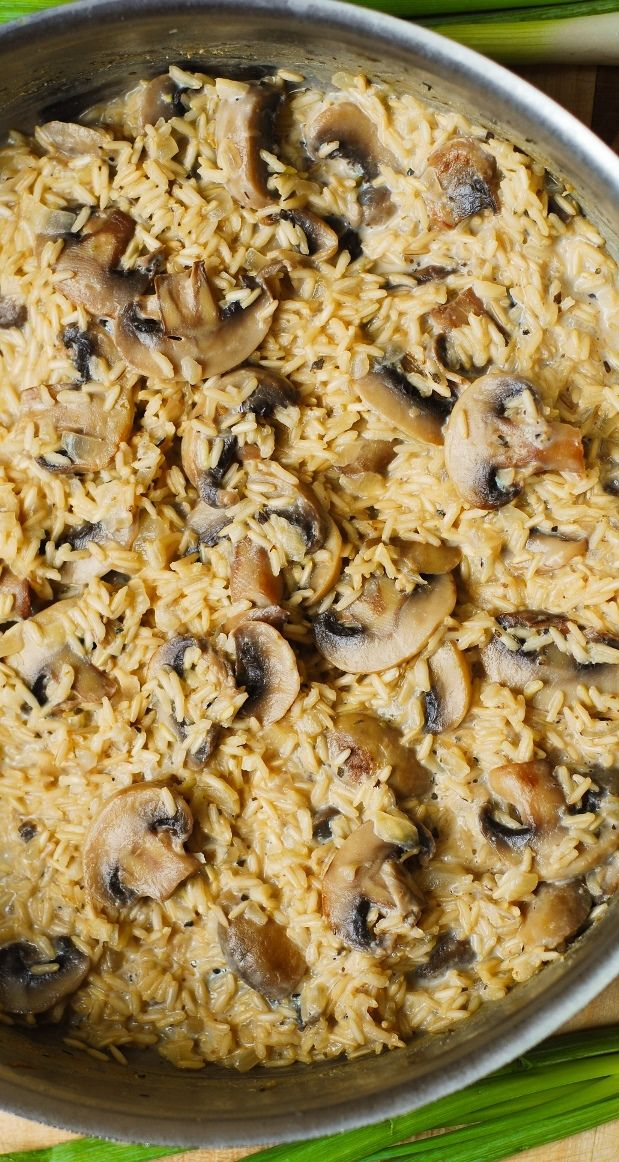 Creamy mushroom & garlic rice | gluten free, gf dinner, recipe