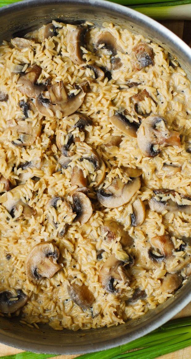 Creamy mushroom & garlic rice