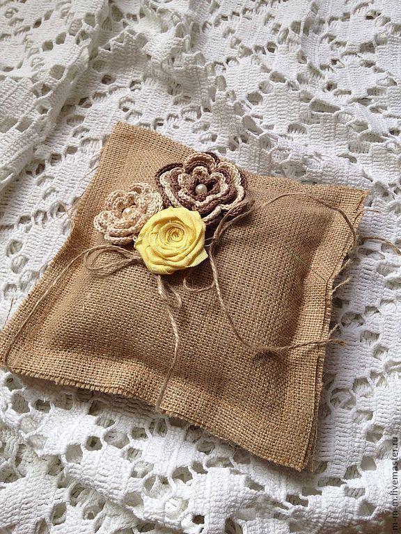 Купить Подушечка для колец в стиле рустик, ручная работа - бежевый, подушка для колец, подушечка для колец