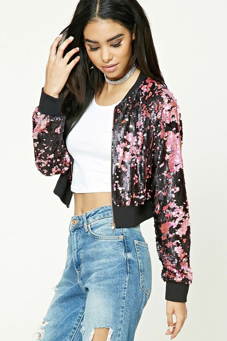 A sequined jacket featuring a cropped silhouette, zip-up front, ribbed trim, and long sleeves.