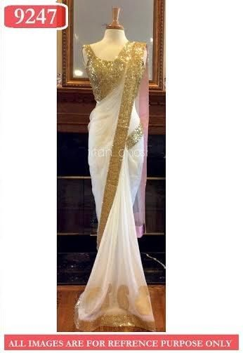 Gold Pleats Net Bollywood Sarees Online ,Indian Dresses - 10