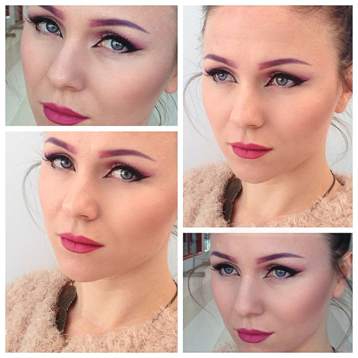 Cat eye look with nude orchid lips and gradient eyebrows.