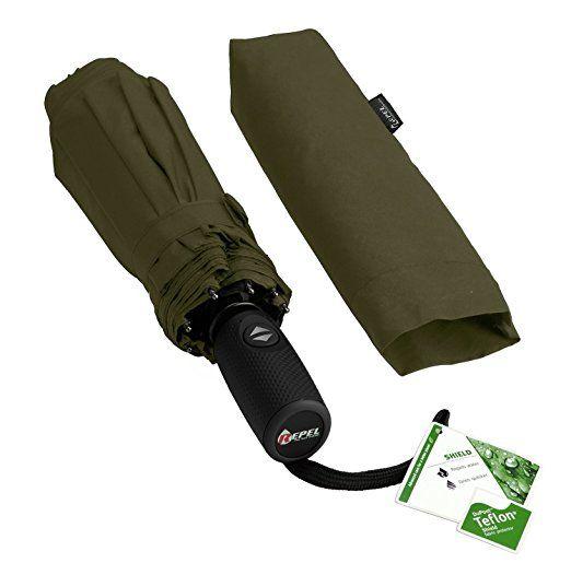 Repel Easy Touch Umbrella 11.5-Inch DuPont Teflon Travel Umbrella http://amzn.to/2dPFSLQ Army Green