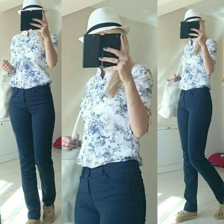 #navyblue pants, #blue flowers #tunicshirt, #nude #loafers, #white #casual #hat, #white #trussardi #bag
