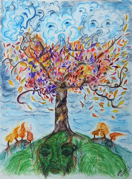 Autumn Winds  Inktense Pencils on heavy watercolour paper  i love autumn.. the colours.. the storms.. fairytales and folklore that go with it...... of tree spirits wearing their fancy crowns before going to sleep for a season ..  of winds spirits having competitions.. who can shake which tree the most.. blow away most of the dry leaves.. and upset the little heaps of dried leaves humans have made, blowing them all over the place again ......