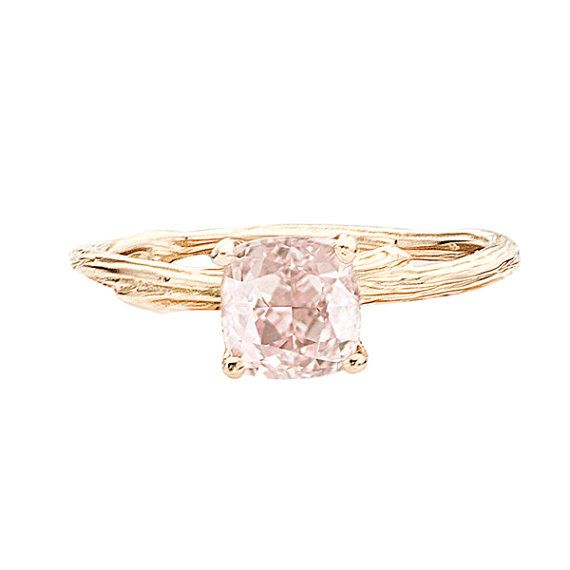 Rose Gold Ring  Morganite Cushion Cut Stone for by bmjnyc on Etsy