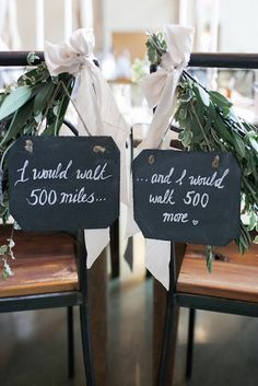 Lyric chair backs. 10 Music Inspired Wedding Ideas on @intimatewedding #musicalwedding #weddingmusic #weddinglyrics