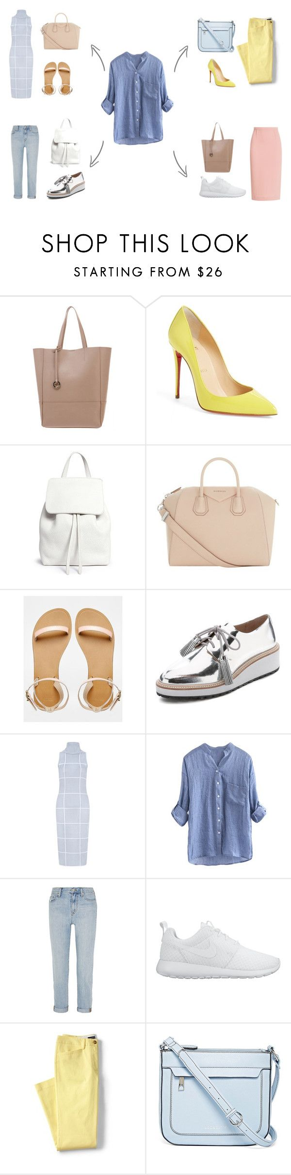 """рубашка база лето холодный"" by mrsgreeen ❤ liked on Polyvore featuring Christian Louboutin, Mansur Gavriel, Givenchy, ASOS, Loeffler Randall, C/MEO COLLECTIVE, Madewell, NIKE, Lands' End and Liz Claiborne"