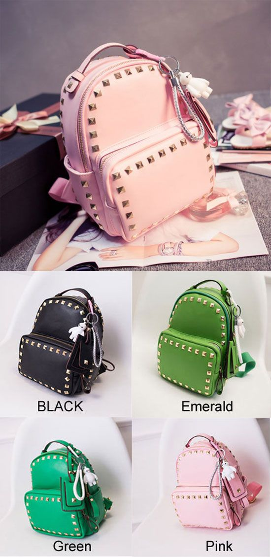 Cute Pink Baymax Girl Rucksack Rivet Glossy Mini Backpacks for big sale ! #pink #cute #girl #backpack #bag #rivet #gloassy #rivet #pink