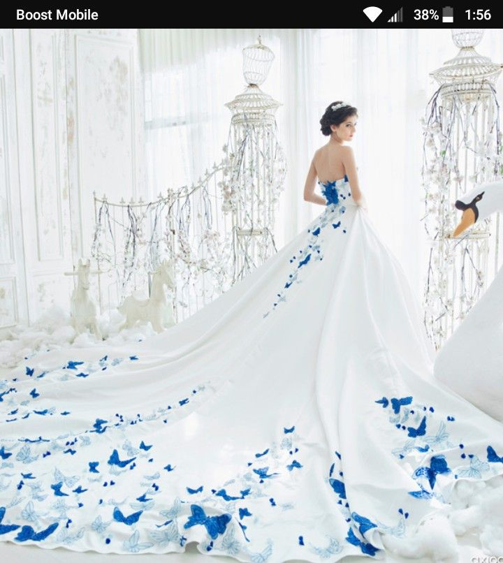 Pin By Poahia Oliver On Wedding Dresses Butterfly Wedding Dress Blue Wedding Gowns Ball Gowns Wedding