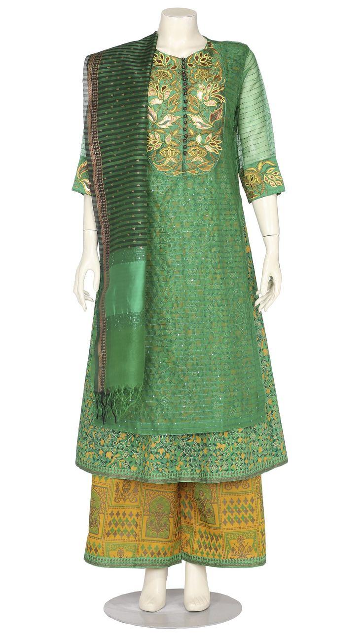 Green Printed and Embroidered Muslin Shalwar Kameez Set