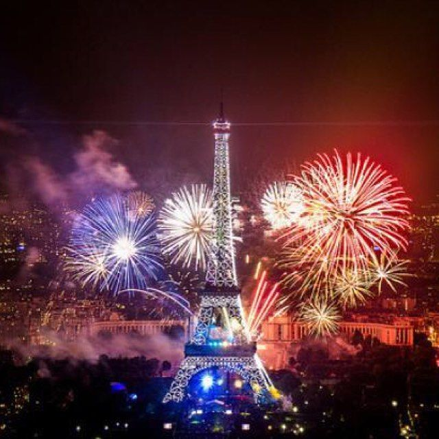 """This is the day I miss being in Paris and see the fireworks and dance at """"Le bal des pompiers"""" ( Firemen dance) Come visit us at Be Smooth to cheer Bastille day!"""