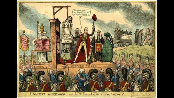 The British government suspended habeas corpus in 1817. By suspending habeas corpus, Parliament effectively allowed detention without trial.  Liberty Suspended by George Cruikshank deploys Magna Carta to condemn this legislation. A printing press serves as a scaffold, from which Liberty hangs, gagged, bound and holding a scroll inscribed with the watchwords of British constitutionalism, 'Magna Carta, Bill of Rights, Habeas Corpus'. LMA
