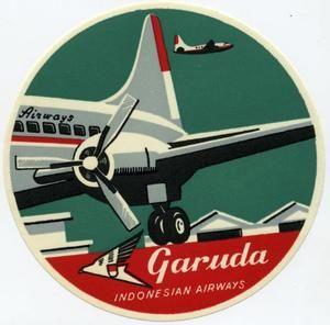 Garuda Indonesian Airways - ART DECO Airline Luggage Label, 1955