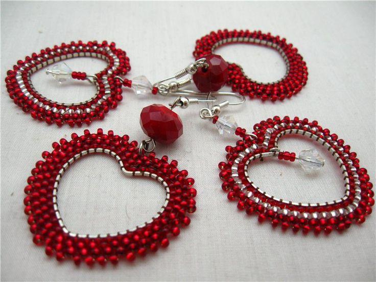 Beaded earring. Сердца трех (коллекция сердец) by Диана_Богиня