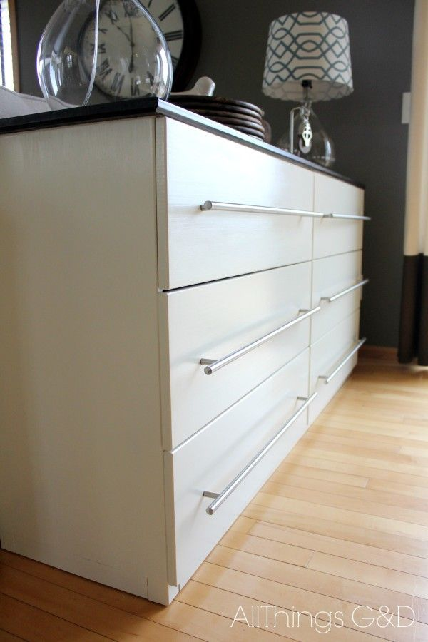 #ikea TARVA chest of drawers transformed into a kitchen sideboard: legs chopped off, painted, LANSA handles added