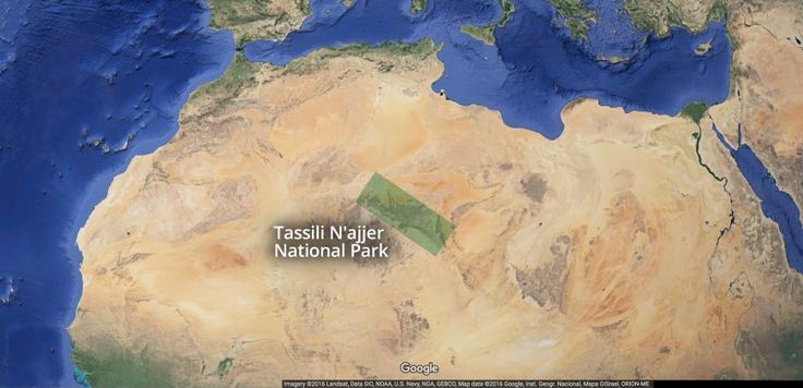 """Map of Tassili n'Ajjer is a Tamahaq name meaning """"plateau"""" of the Ajjer people (the Kel Ajjer is group of tribes whose traditional territory was here). Much of the 1,500-2,100 meter high plateau is protected by an 80,000 square kilometer National Park. Africa"""