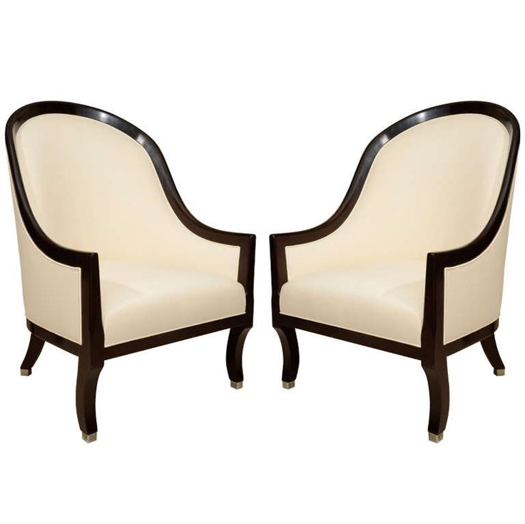 Pair Of Upholstered French Armchairs With Curved Backs And Seats, Circa 1950