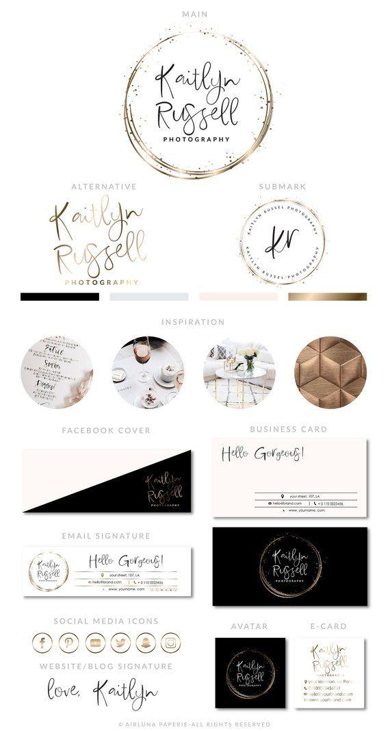 Rose Gold Confetti Logo, Makeup Salon Logo, Rose Gold Botanical Logo, Event Planner Logo, Rose Gold Branding Package, Minimal logo design