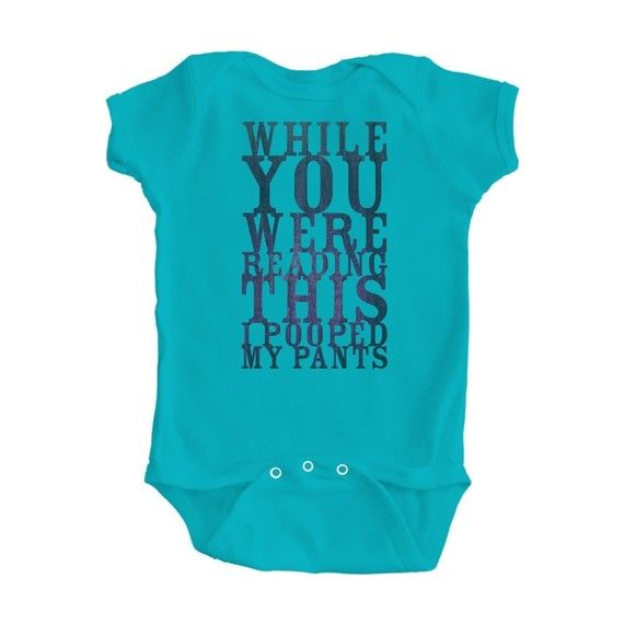 Funny Turquoise Baby Bodysuit with Cute I Pooped My by apericots, $11.99