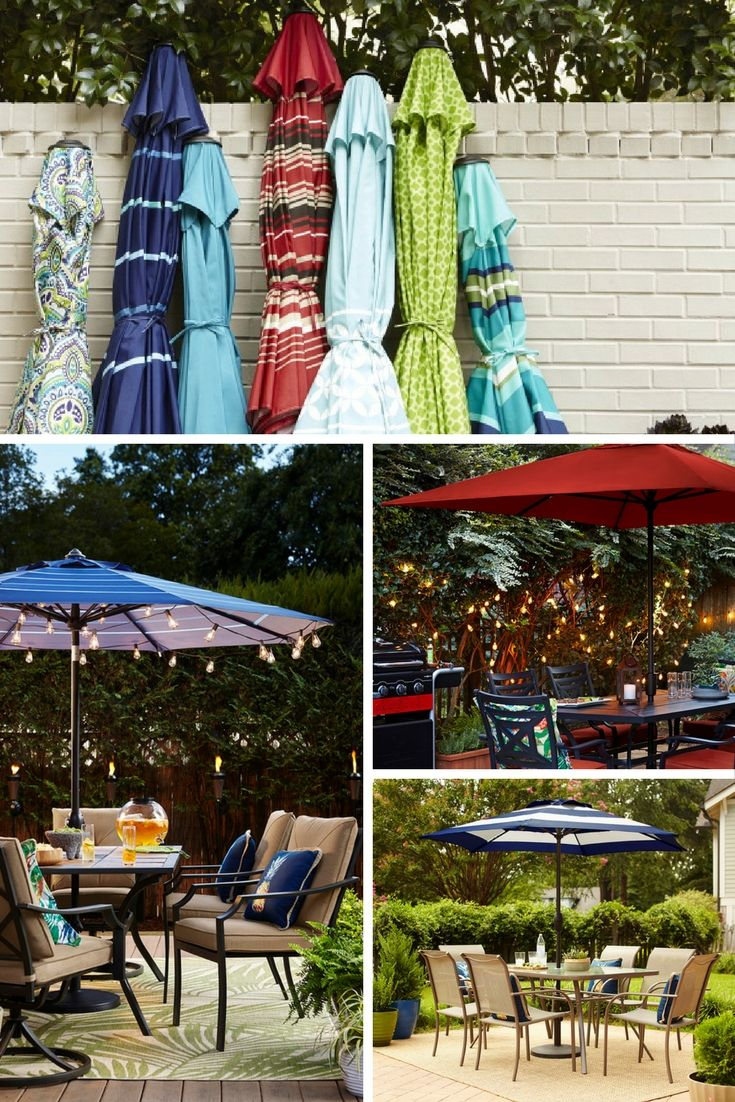 Enjoy a day in the shade. Relax under the cover of colorful patio umbrellas.