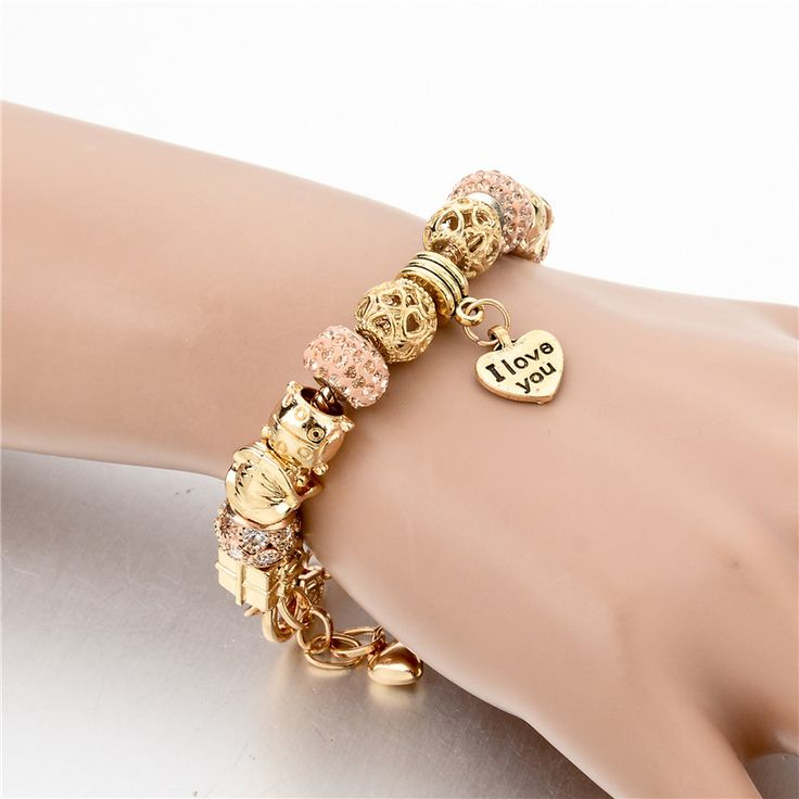 2016 High Quality Heart Charm Bracelets For Women Snake Chain Gold Plated Bracelets & Bangles Fashion Jewelry  SBR150082