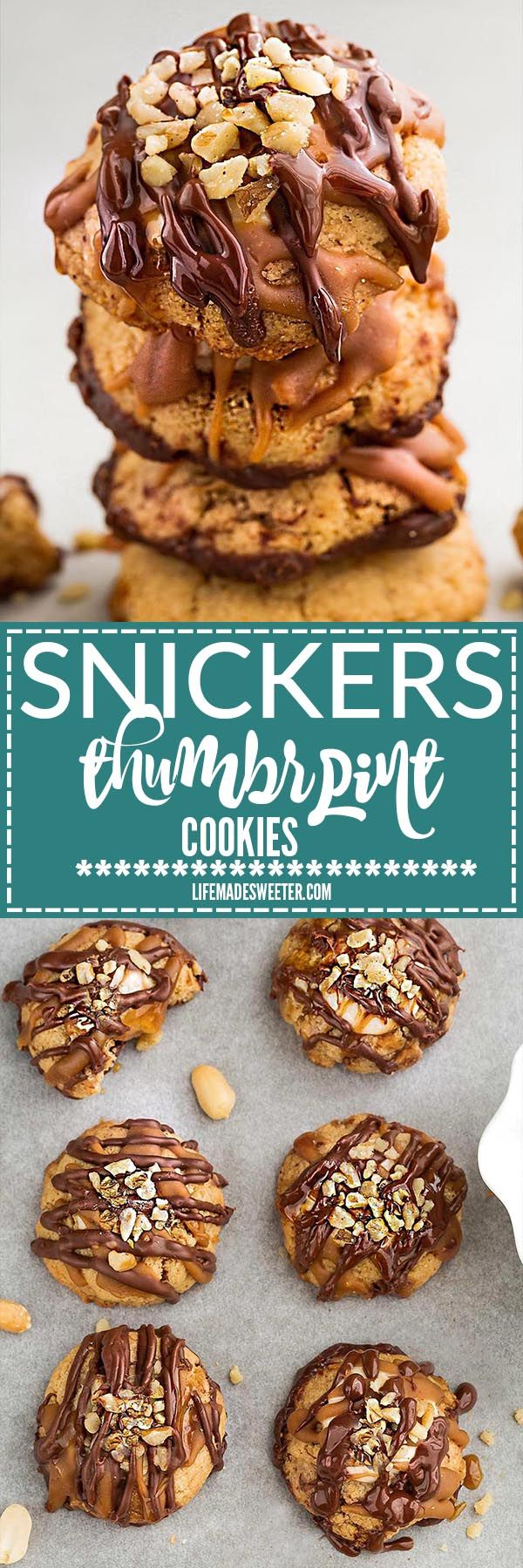 Peanut Butter Caramel SnickersThumbprint Cookies make the perfect addition to your holiday cookie batter. Best of all, it's so easy to make with a 3 ingredient soft and chewy peanut butter cookie, a marshmallow gooey nougat filling and a drizzle of melted chocolate and caramel with chopped peanuts sprinkled in the center.