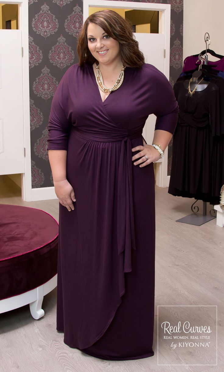"""Jennifer (5'6"""") in Romance Dress.  This true wrap maxi features a long sash with cascading ruffle on front overlay."""