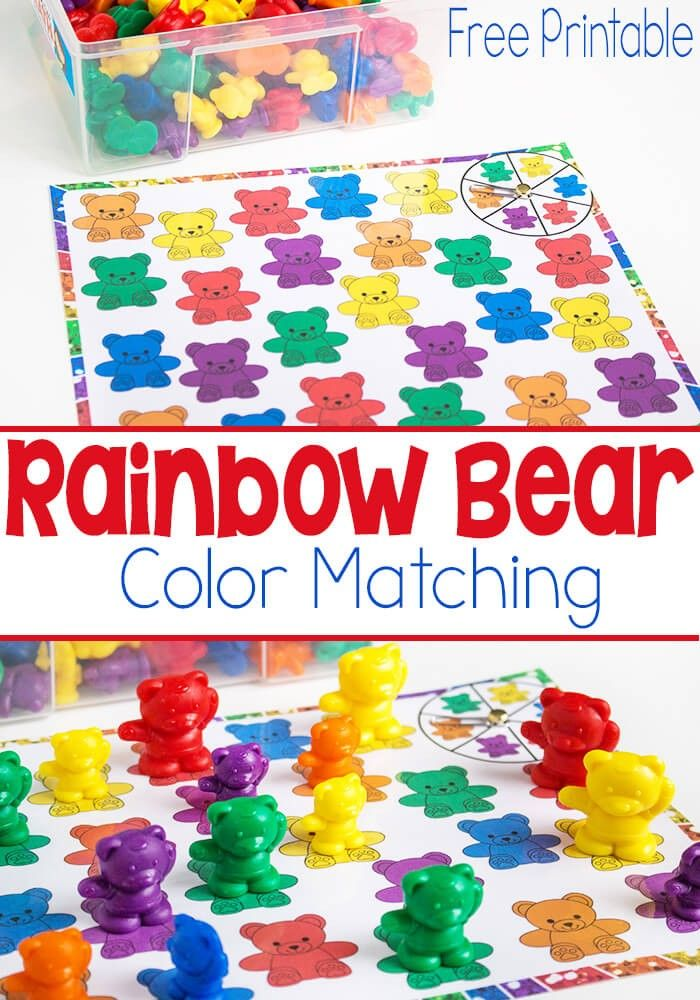 This Rainbow Bear Color Matching Spinner Game is such a fun way for preschoolers…
