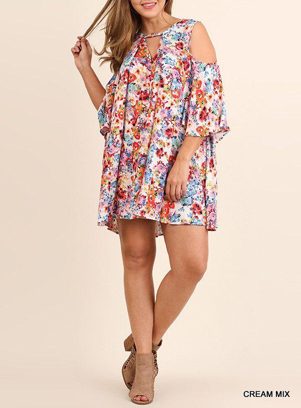 Plus Size Floral Cold Shoulder Dress - Cream