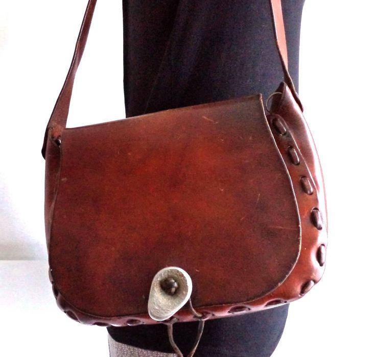 1960s Tooled Leather Hanbag Bag Brown Boho Hippie Unisex Messenger Bag Saddle Man Bag Purse Postman Stiff Leather Bag Brutalist Clasp Gift by MushkaVintage3 on Etsy