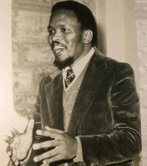 Steve Biko in 1977, he was a anti-apartheid activist in South Africa. He died in a prison cell after numerous torturing acts. Biko was an international protest to the South African government.