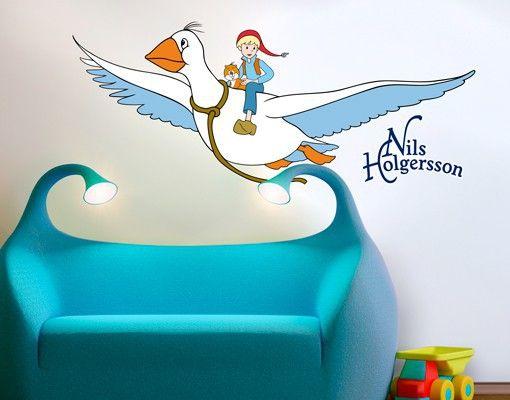 #Wandtattoo #Babyzimmer #Nils #Holgersson - Wunderbare Reise #Kinderzimmer #Trends #Wanddekoration #für #Kinder #Mädchen und #Jungen #Formen #Streifen #Kindsein #Zimmer #gestalten #dekorieren